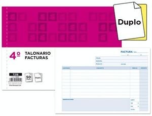 TALONARIO LIDERPAPEL FACTURAS CUARTO ORIGINAL Y COPIA T218 APAISADO CON I.V.A.