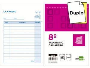 TALONARIO LIDERPAPEL CAMARERO 8º ORIGINAL Y COPIA T202