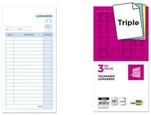 TALONARIO LIDERPAPEL CAMARERO 3/Fº ORIGINAL Y 2 COPIAS T314