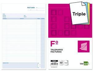 TALONARIO LIDERPAPEL FACTURAS FOLIO ORIGINAL Y 2 COPIAS T323 CON I.V.A.