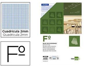 BLOC EXAMENES LIDERPAPEL CUADRO 2MM FOLIO 40 HOJAS 60G/M2