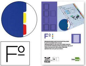 SEPARADOR LIDERPAPEL PLASTICO FOLIO JUEGO 10 UD