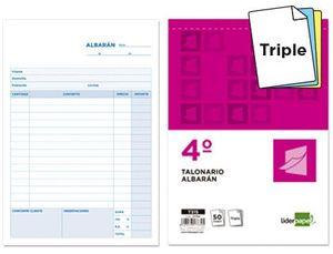 TALONARIO LIDERPAPEL ALBARAN CUARTO ORIGINAL Y DOS COPIAS T315
