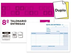 TALONARIO LIDERPAPEL ENTREGAS 8º ORIGINAL Y COPIA T228 APAISADO