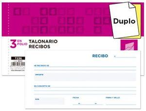 TALONARIO RECIBOS LIDERPAPEL 1/3 Fº ORIGINAL + COPIA SIN MATRIZ