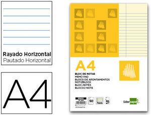 BLOC NOTAS LIDERPAPEL HORIZONTAL A4 50 HOJAS AMARILLAS 60 GR ENCOLADO