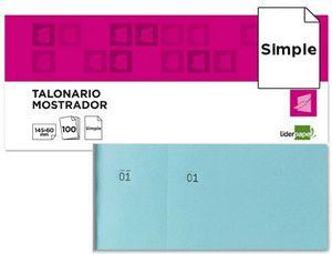 TALONARIO LIDERPAPEL MOSTRADOR 60X145 MM CELESTE