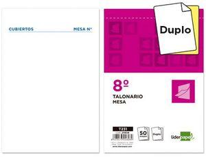 TALONARIO LIDERPAPEL CAMARERO 8º ORIGINAL Y COPIA T231 PAPEL AUTOCOPIANTE