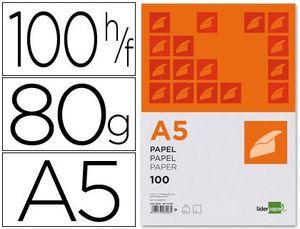 PAPEL LIDERPAPEL A5 80 GR PAQUETE 100 UD