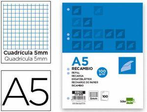 RECAMBIO LIDERPAPEL A5 100 HOJAS 100G/M2 CUADRO 5MM CON MARGEN 6 TALADROS