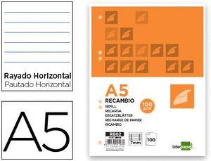 RECAMBIO LIDERPAPEL A5 100 HOJAS 100G/M2 HORIZONTAL CON MARGEN 6 TALADROS