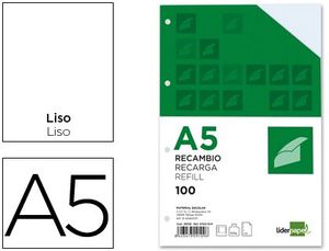 RECAMBIO LIDERPAPEL A5 LISO 6 TALADROS 100 HJ 100 GR
