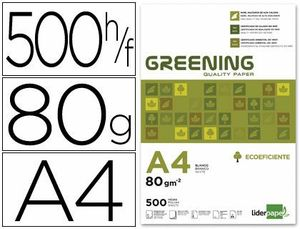 PAPEL LIDERPAPEL GREENING A4 80 GR PAQUETE 500 HOJAS