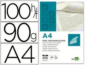PAPEL VERJURADO LIDERPAPEL A4 90G/M2 BLANCO PAQUETE DE 100