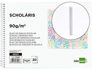 BLOC DIBUJO LIDERPAPEL ESCOLAR ESPIRAL 155X215MM 20 HOJAS 90 GR SIN RECUADRO