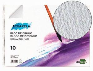 BLOC DIBUJO LIDERPAPEL ACUARELA ESPIRAL 297X210MM 10 HOJAS 300 GR SIN RECUADRO
