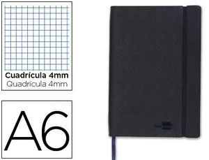 CUADERNO LIDERPAPEL SIMIL PIEL NEGRO A6 4X4 MM 120 HJ
