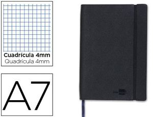 CUADERNO LIDERPAPEL SIMIL PIEL NEGRO A7 4X4 MM 120 HJ