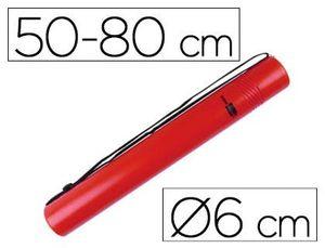 PORTAPLANOS PLASTICO LIDERPAPEL DIAMETRO 6 CM EXTENSIBLE HASTA 80 ROJO