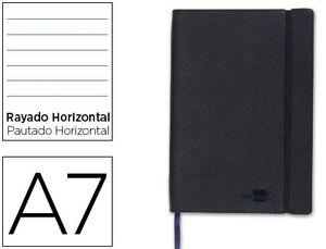 LIBRETA LIDERPAPEL SIMIL PIEL A7 120 HOJAS 70G/M2 HORIZONTAL SIN MARGEN NEGRO