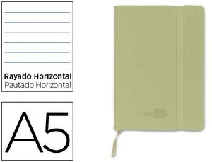 CUADERNO LIDERPAPEL SIMIL PIEL VERDE A5 4X4 MM 120 HJ