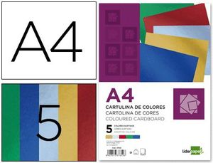 CARTULINA LIDERPAPEL A4 METAL 5 COLORES PAQ 50 UD