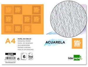 PAPEL DIBUJO LIDERPAPEL A4 ACUARELA 300 GR PACK 6 UD