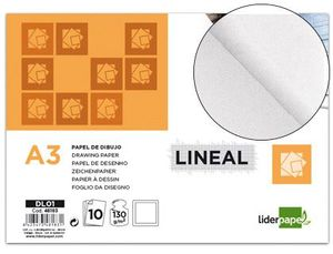 PAPEL DIBUJO LIDERPAPEL LINEAL A3 120 GR CON RECUADRO PACK 10 UD