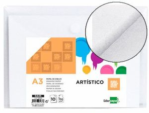 PAPEL DIBUJO LIDERPAPEL ARTISTICO A3 130 GR SIN RECUADRO PACK 10 UD