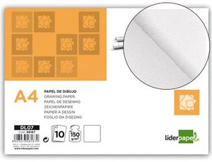 PAPEL DIBUJO LIDERPAPEL A4 150 GR SIN RECUADRO PACK 10 UD