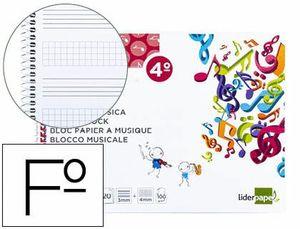 BLOC MUSICA LIDERPAPEL COMBI PENTAGRAMA 3MM MAS CUADRICULA DE 4MM PARA ANOTACIONES CUARTO20 HOJAS 10