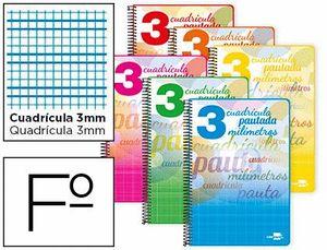 CUADERNO ESPIRAL LIDERPAPEL FOLIO PAUTAGUIA TAPA BLANDA 80H 75 GR CUADRO PAUTADO 3MM CON MARGEN COLO