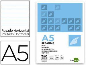 RECAMBIO LIDERPAPEL A5 120 HOJAS 80G/M2 HORIZONTAL SIN MARGEN 6 TALADROS BANDAS DE 5 COLORES