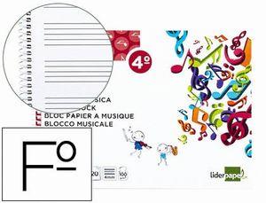 BLOC MUSICA LIDERPAPEL PENTAGRAMA 4MM CUARTO 20 HOJAS 100G/M2