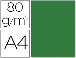 PAPEL COLOR LIDERPAPEL A4 80G/M2 VERDE ACEBO PAQUETE DE 15