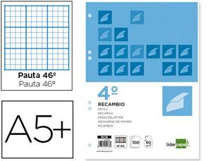 RECAMBIO LIDERPAPEL CUARTO 100 HOJAS 60G/M2 RAYADO Nº 46 6 TALADROS