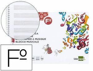 BLOC MUSICA LIDERPAPEL PENTAGRAMA 3MM FOLIO APAISADO 20 HOJAS 100G/M2