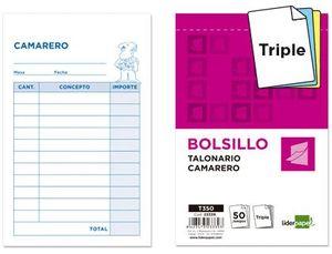 TALONARIO LIDERPAPEL CAMARERO BOLSILLO ORIGINAL Y 2 COPIAS T350