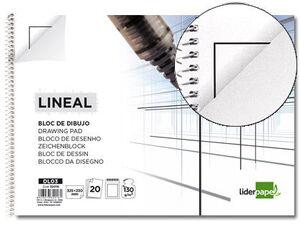 BLOC DIBUJO LIDERPAPEL LINEAL ESPIRAL 230X325MM 20 HOJAS 130G/M2 CON RECUADRO 2 TALADROS PERFORADO