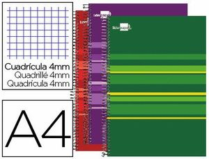 CUADERNO ESPIRAL LIDERPAPEL A4 MICRO CLASSIC TAPA FORRADA 160 H 60 GR CUADRO4MM 5 BANDA S 4 TALADROS