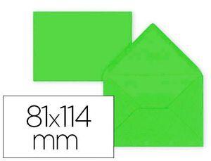 SOBRE LIDERPAPEL C7 LIMA 81X114 MM 80GR PACK DE 12 UNIDADES
