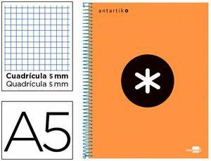 CUADERNO ESPIRAL 5X5 MM A5 ANTARTIK MICRO 120 HJ 100 GR NARANJA FLUOR