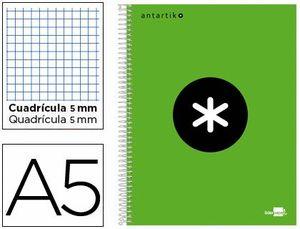 CUADERNO ESPIRAL 5X5 MM A5 ANTARTIK MICRO 120 HJ 100 GR VERDE