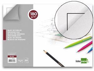 BLOC DIBUJO LIDERPAPEL LINEAL ENCOLADO 230X325MM 20 HOJAS 180 G/M2 CON RECUADRO