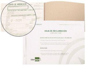 LIBRO LIDERPAPEL HOJAS DE RECLAMACIONES JUNTA DE ANDALUCIA DIN A4 25 JUEGOS ORIGINAL + 2 COPIAS