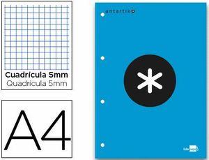 BLOC ENCOLADO LIDERPAPEL ANTARTIK CUADRO 5 MM A4 NATURAL 80 H 100 GR COLOR AZUL