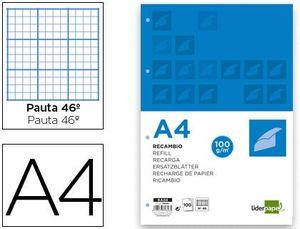 RECAMBIO LIDERPAPEL RAYADO A4 100 HOJAS 100 GR Nº 46 4 TALADROS