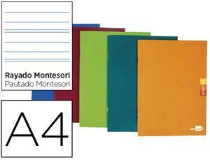 LIBRETA SCRIPTUS RAYADO MONTESSORI 3,5MM A4 48 HOJAS 90 GR CON MARGEN COLORES SURTIDOS
