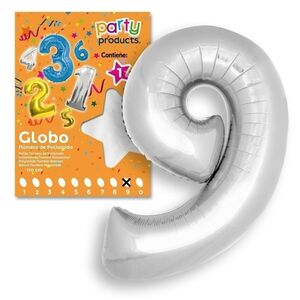 GLOBO Nº9 COLOR PLATA 106X81 CM