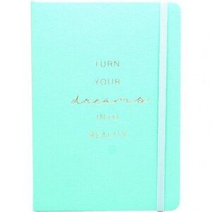 CUADERNO PUNTOS A5 80 HJ 100 GR C/GOMA T/D FORRADO VERDE TURN YOUR DREAMS INTO REALITY